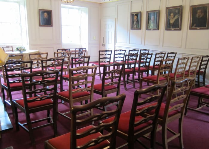 The Parker Room is a beautiful, atmospheric college room accessed via Old Court and located on the first floor. A wood panelled room ideal for small civil ceremonies for up to 40 guests or a small talk or lecture.