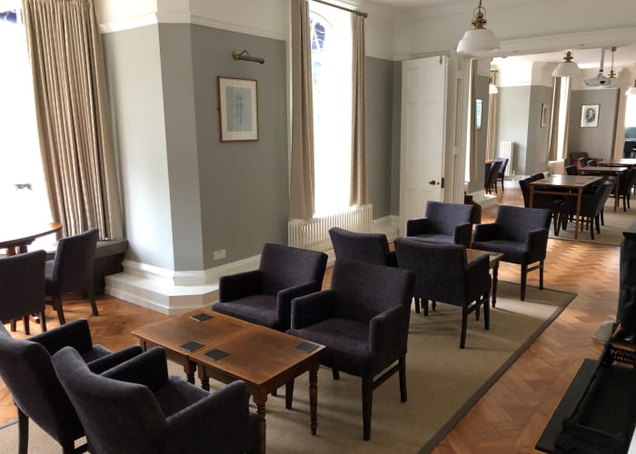 Newly refurbished room providing potentially many different seating styles