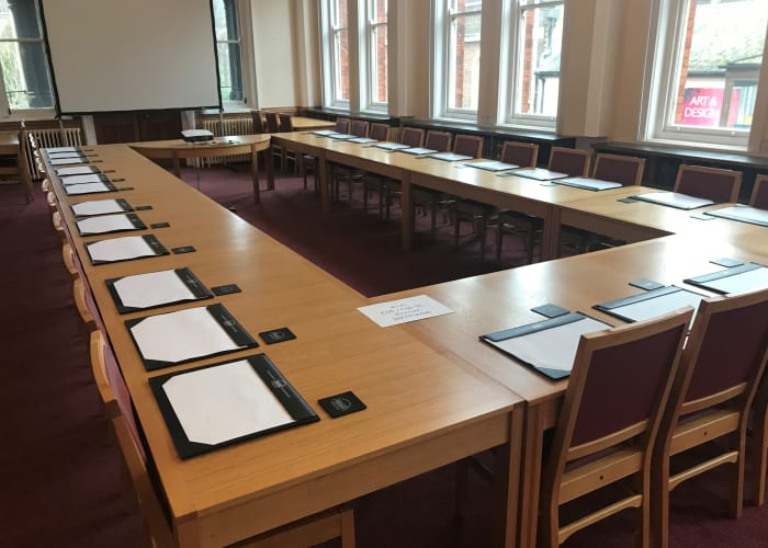 A beautifully unique room hosting our Fairfax Rhodes book collection and located just off the Keynes Library. The room is located on the first floor and is fitted with a large table which can be used in multiple configurations.