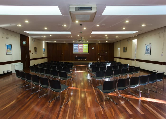 The Reddaway Room, another large room on the first floor, seats 180 theatre style. It has a fully wired public address system, total blackout facilities, an optional platform, differential lighting, air-conditioning and natural light.