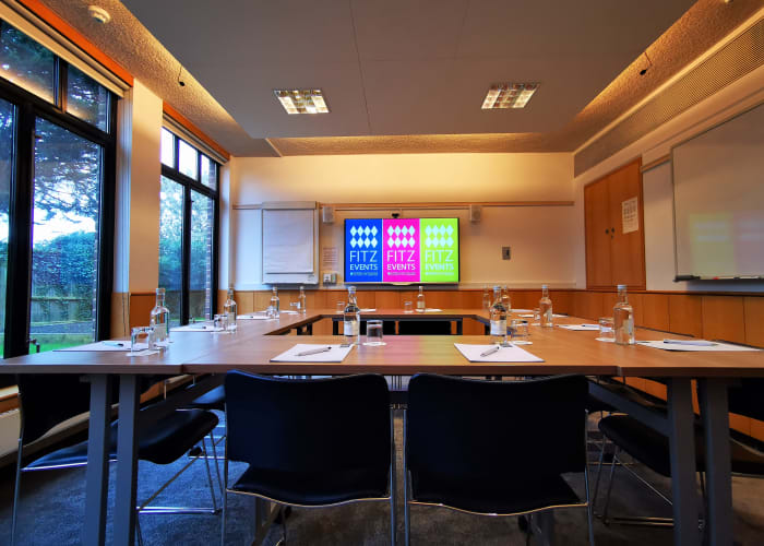 Light, airy rooms overlooking our allotments. Located on the ground floor of Wilson Court, they are ideal for intimate meetings and breakout sessions.