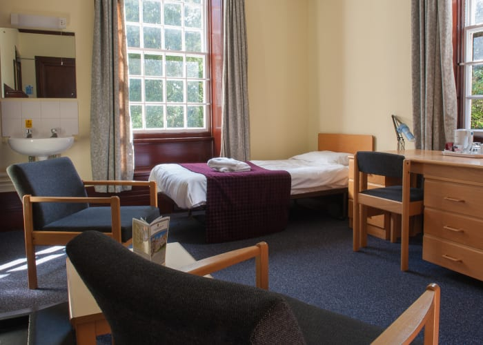 Our standard bedrooms are of a high quality and bathrooms are shared between 3-4 bedrooms. Our bed and breakfast rate for a single standard bedroom is £54.80+VAT. All of these rooms have WiFi access.