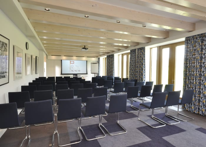 Newly built in the summer of 2016, this modern meeting room will provide theatre style seating for up to 70 and a range of other layouts. A wall of windows will open out onto a terrace suitable for receptions, the service of refreshments and catering.