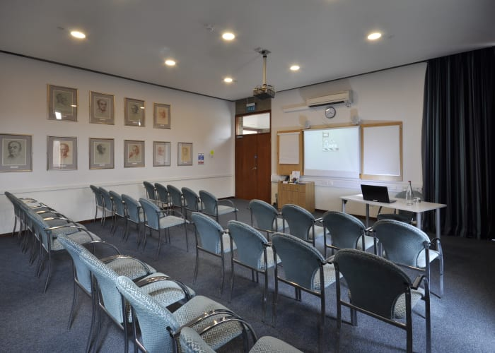 On the first floor of the main College building, with views of the College lawn to one aspect and the extensive playing fields to the other, this light, bright space is equipped with an AV wall to ensure that presentations are seamless and trouble free.