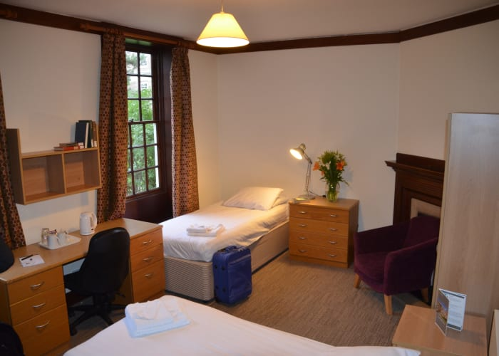 We have a range of en suite accommodation available at Clare College, with the majority of rooms being located at Memorial Court. Our bed and breakfast rate for a twin ensuite bedroom is £121.80+VAT. All of these rooms have WiFi access.