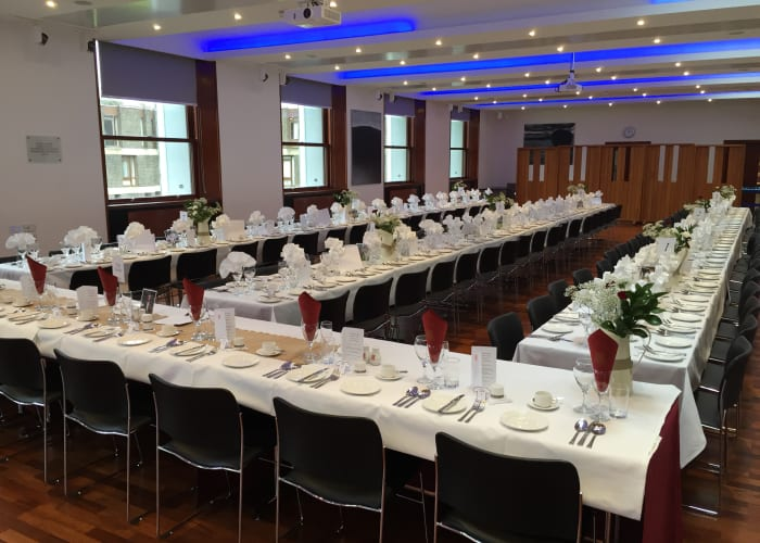 This contemporary room offers private dining for up to 110 guests on either banqueting or round tables.