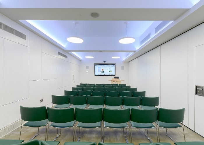 WYNG Gardens smaller conference room theatre style. An ideal breakout space for smaller presentations or meetings.