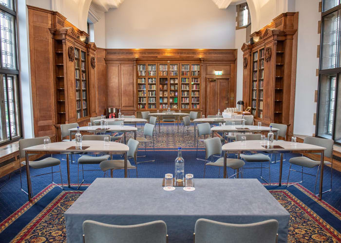 The Webb Library, with its high domed ceiling, is a light, flexible space that can be used for a wide range of events.  Formerly a library, the room has been sensitively refurbished, keeping many of its original features.