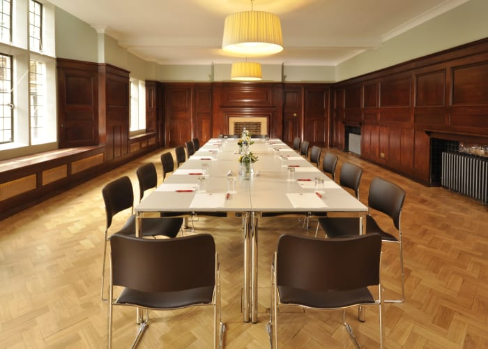 The Bawden Room, with its traditional décor and contemporary lighting, provides the perfect setting for a wide range of functions. A spacious room with wood panelling and parquet flooring, it will provide a smart backdrop for your event.  As a meeting venue the room can accommodate 60 delegates for a lecture, or 22 to 40 delegates in a boardroom or cabaret style layout. The Bawden Room is fully equipped with a free standing projector and screen.