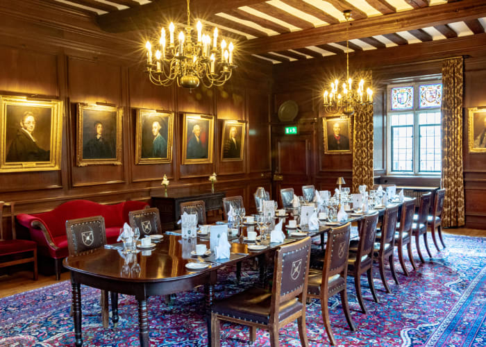 This oak panelled 15th Century room, once used by Fellows of the College, has a beamed ceiling, chandeliers, log fires and old portraits, making it special for entertaining 20 guests on a grand scale for dining and 36 guests for receptions.