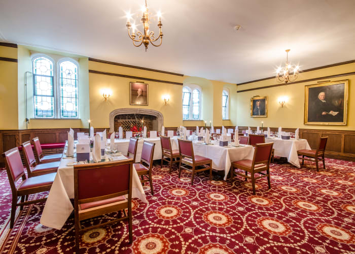 This attractive 450 year old room was where William Wordsworth lived when he was an undergraduate in the 1780's.  He described these rooms in his autobiographical poem, The Prelude. The room is ideally suited for functions of between 20 to 50 sitting down, or up to 60 for stand up buffets or Drinks receptions.