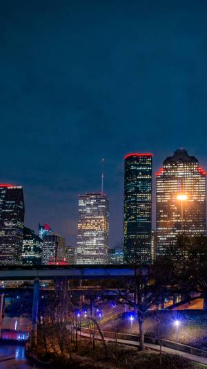 Night time view of downtown Houston