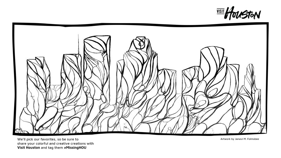 A page from the Houston Mural downloadable coloring book