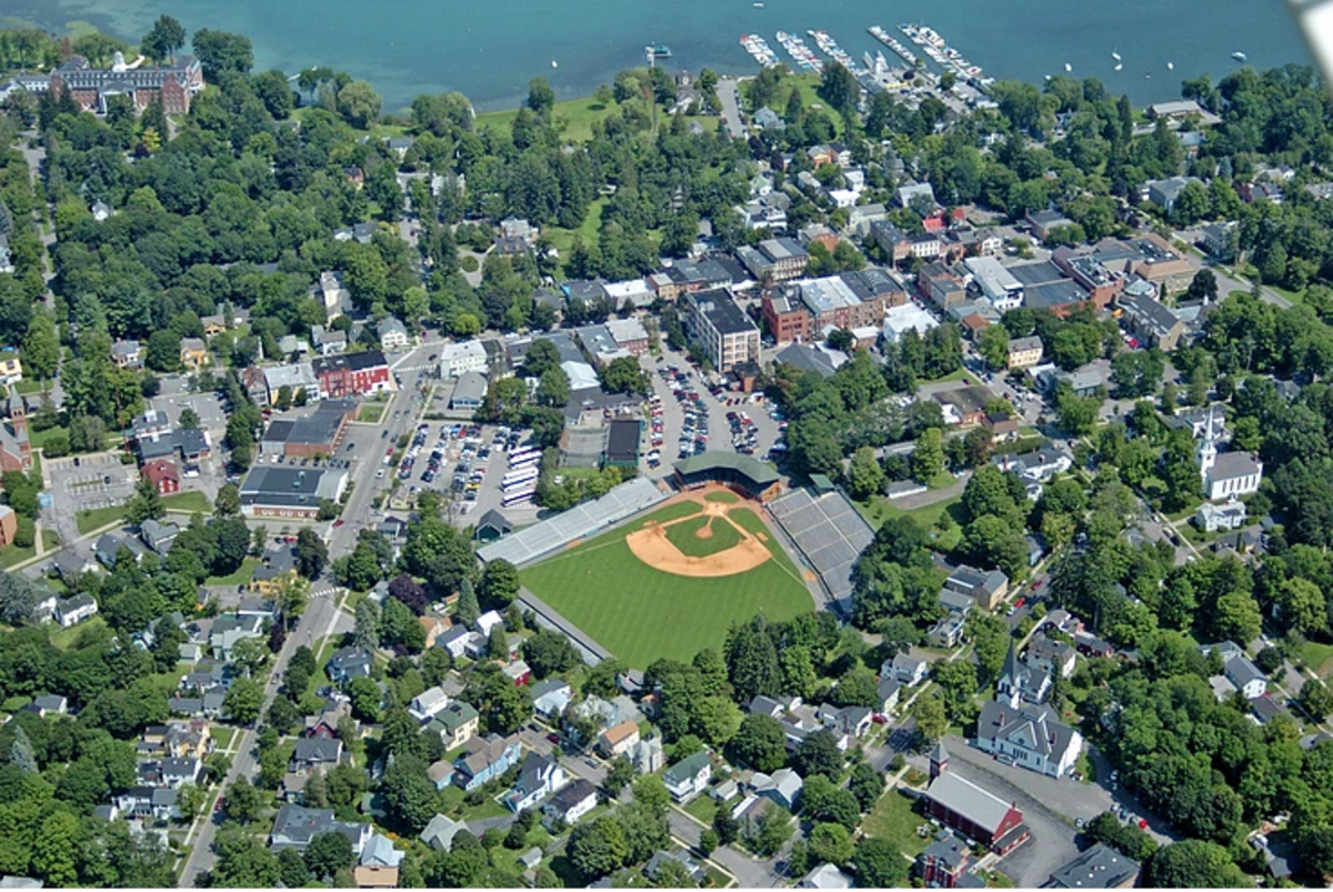 Aerial shot of Doubleday Field and Village