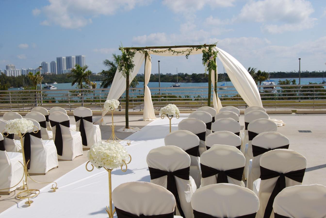 Waterfront Wedding Ceremony looking over Biscayne Bay