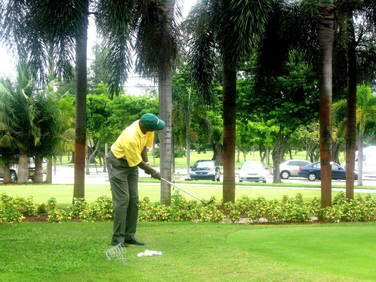 Enjoy practicing your putting or hitting balls on our lighted grass  Driving Range
