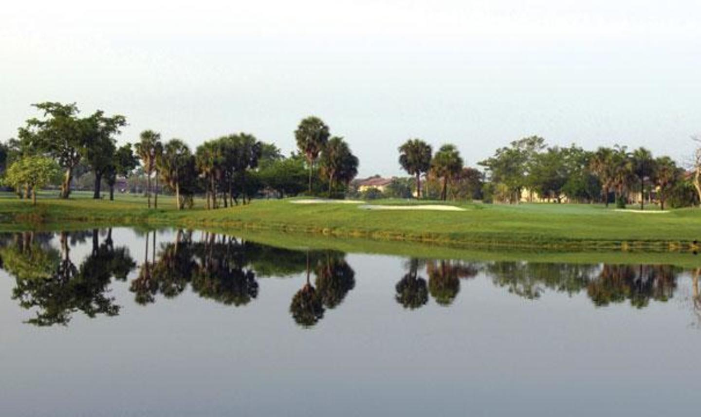 Bunker and waterscape at Briar Bay Golf Course