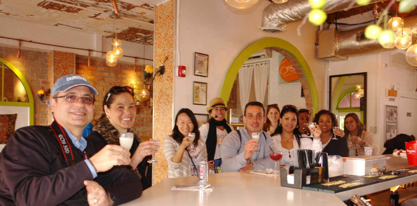 Enjoying pisco sour at the South Beach Food Tour
