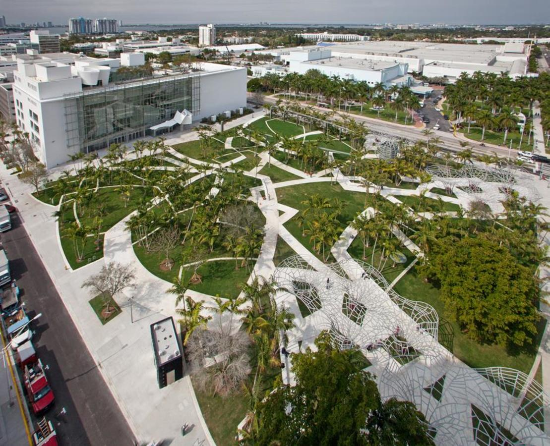 Aerial Day View of Facade and Soundscape Park