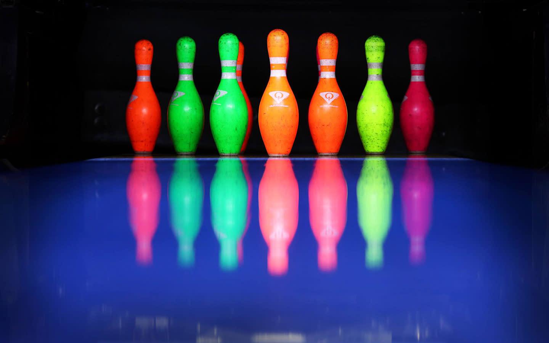 Neon Bowling Pins at Bowlero