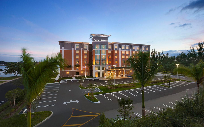 Cambria Suites hotel aerial
