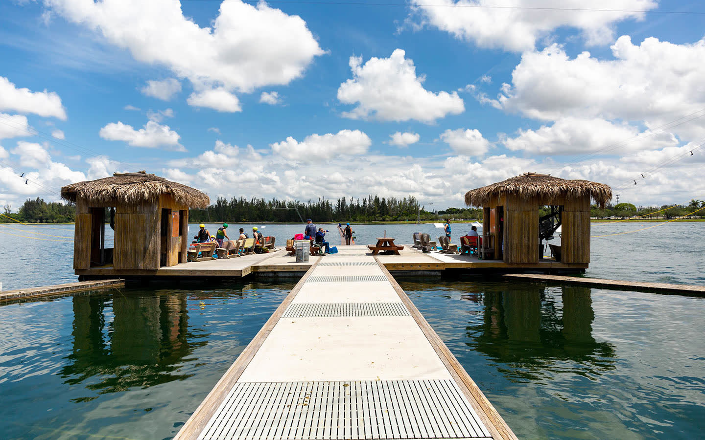 Amelia Earhart Park Watersports complex floating tikis