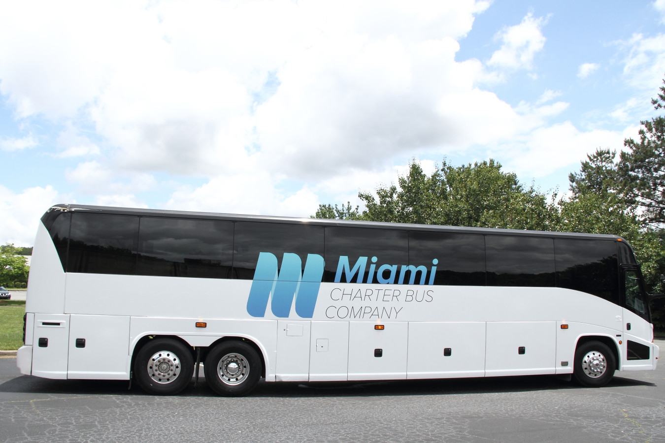 Miami Charter Bus Company bus in parking lot