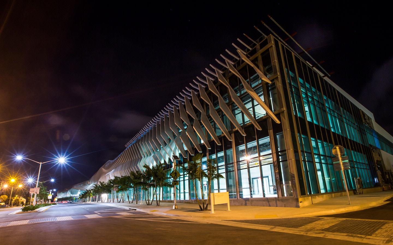 Miami Beach Convention Center corner at night