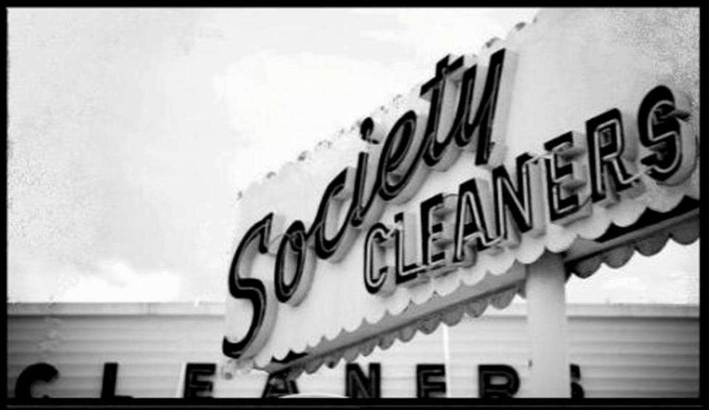 Society Cleaners Sign (B&W)