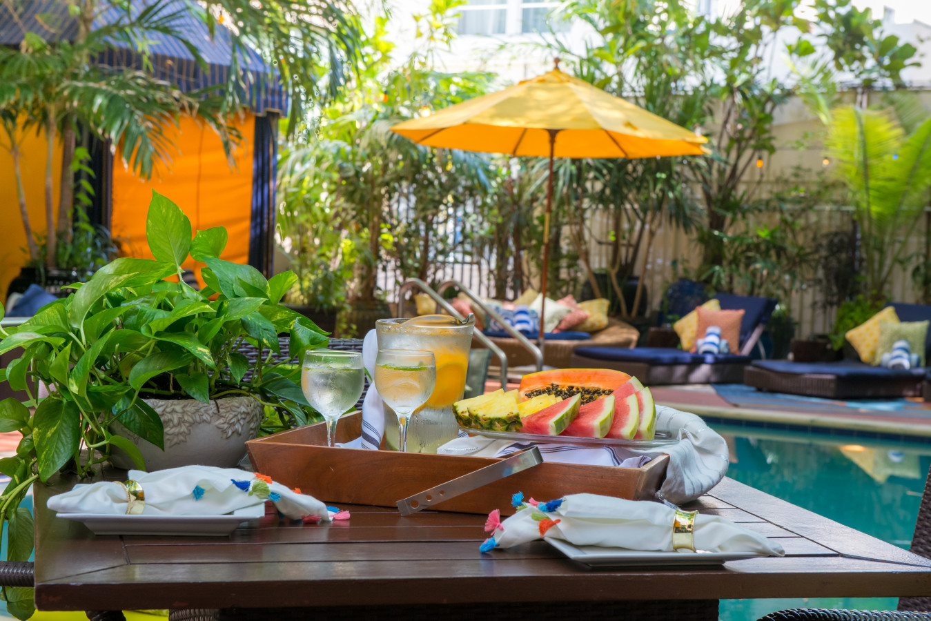 Fresh Fruits Served by the Pool