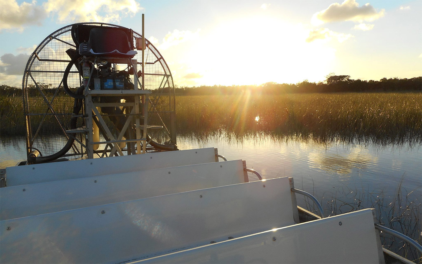 Airboat docked