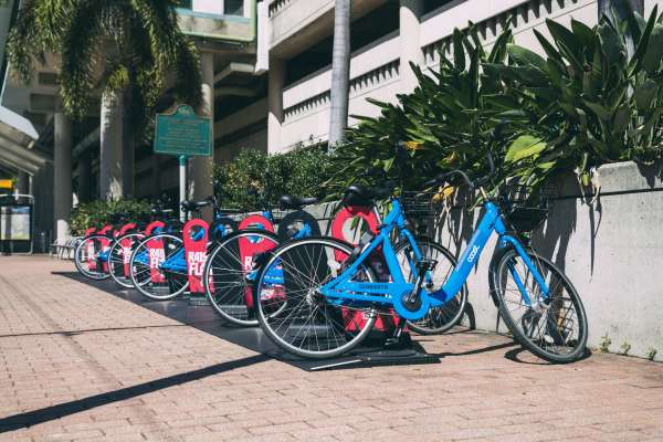 Coast Bike Share Tampa hub with multiple bicycles waiting to be ridden.