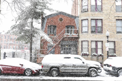 South End House in Snowstorm