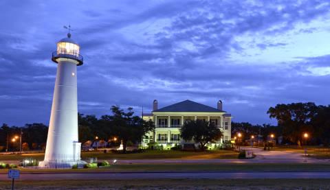 Biloxi Lighthouse & Visitors Center at Night