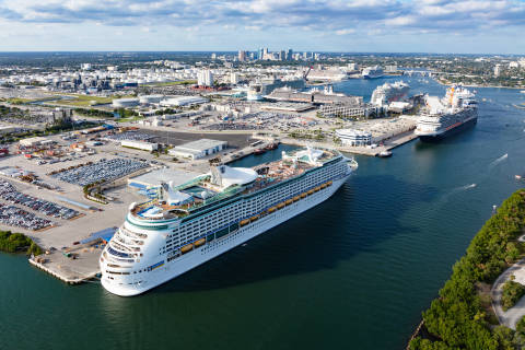 Port Everglades' record-breaking day included eight cruise ships and one ferry on December 1, 2019