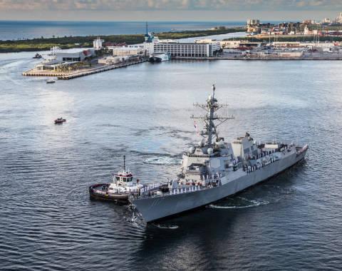 U.S.S. Paul Ignatius arrives at Port Everglades for her commissioning ceremony.