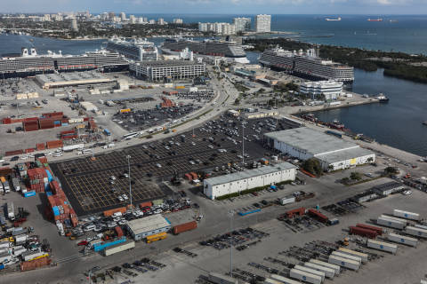 Aerial image of Horizon Terminal with imported cars parked in the lot ready for transport to dealership.