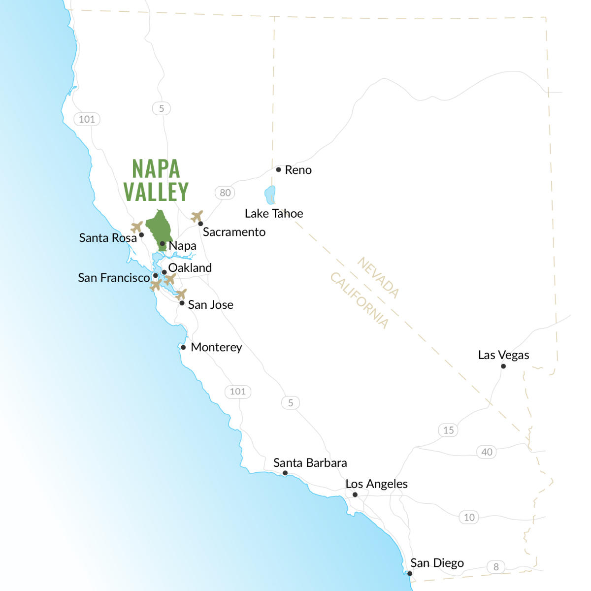 Napa Valley California Map Napa Valley | Map of California Wine Country
