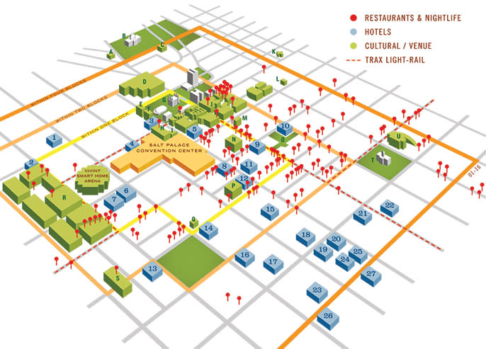 Salt Lake City Convention District Map | Why Choose Salt Lake? Salt Lake City Downtown Hotels Map on salt lake city cemetery map, salt lake city parking map, salt lake city airport map, salt lake city utah map, salt lake city attractions, salt lake city tourist map, salt lake city grid map,