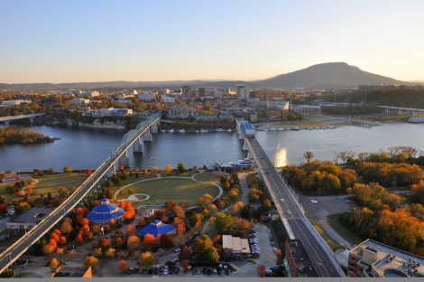 Fall aerial view of Chattanooga