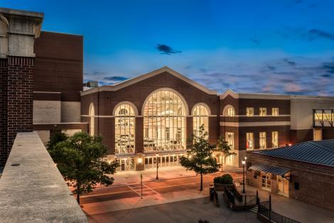 The Classic Center Exterior Atrium at Night