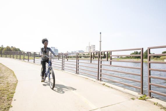 Biking at Silver Lake