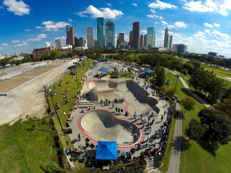 Lee and Joe Jamail Skate Park with Skyline