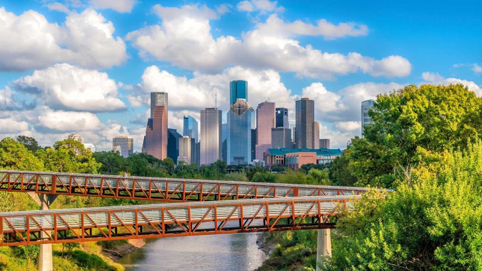 Downtown Houston Skyline over Bayou