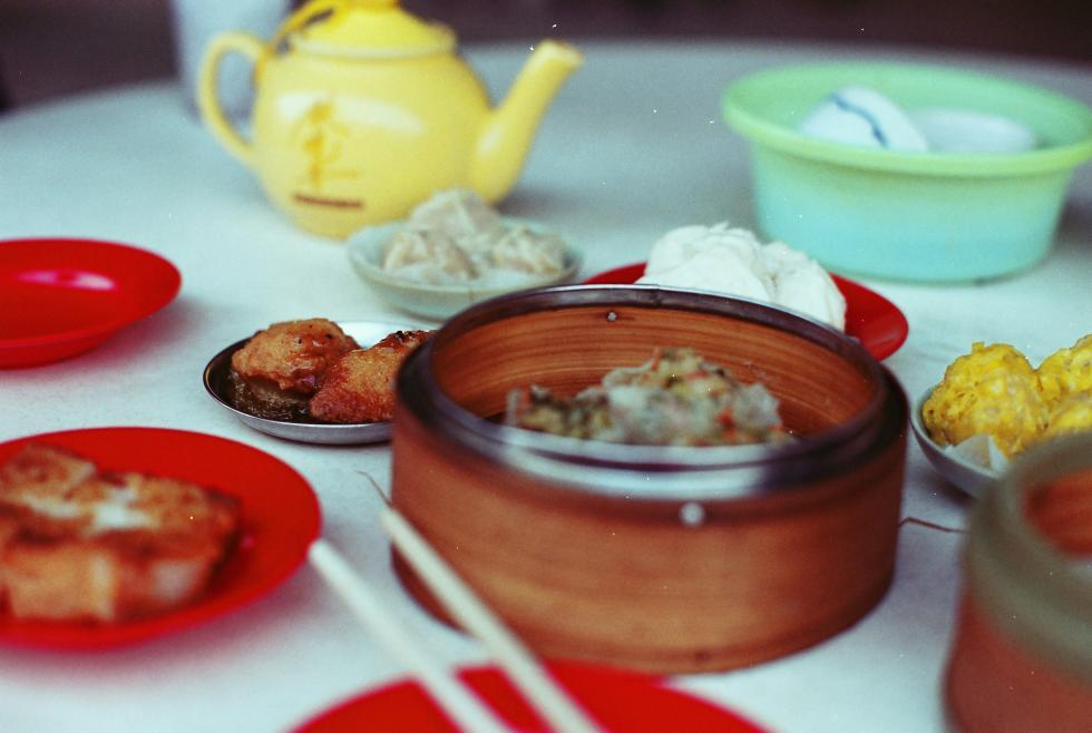 Table set up with Dim Sum in a Houston restaurant in the Chinatown district