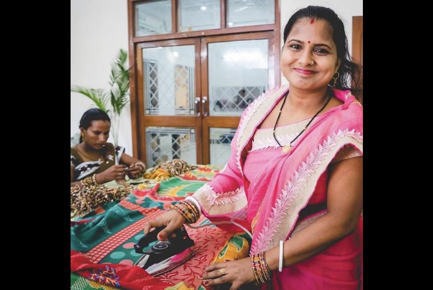 Artisans from India make blankets.