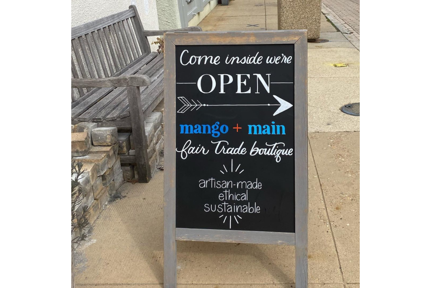 Coffee & Calligraphy hand lettered sign for Mango + Main.