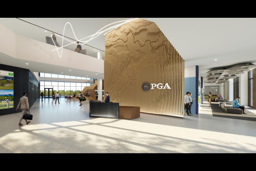Rendering PGA of America HQ Lobby in Frisco