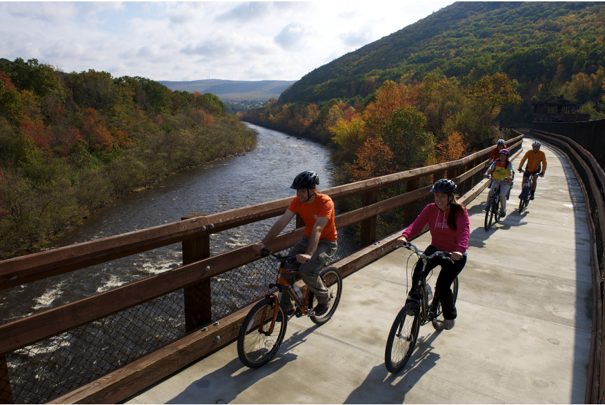 Fall Biking over Lehigh Gorge Bridge