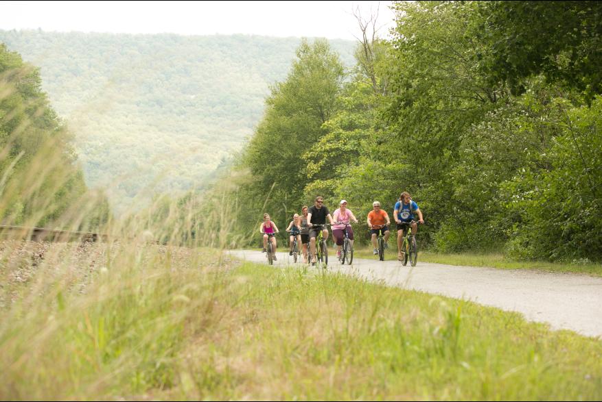 Group Biking Through Pocono Mountains